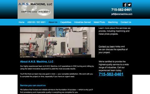 Screenshot of About Page ansmachine.com - About A.N.S. Machine, LLC | Peshtigo, WI CNC Turning - captured Nov. 18, 2016