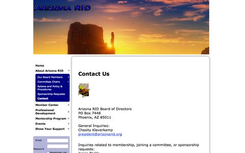Screenshot of Contact Page wildapricot.org - Arizona RID - Contact - captured Sept. 22, 2014