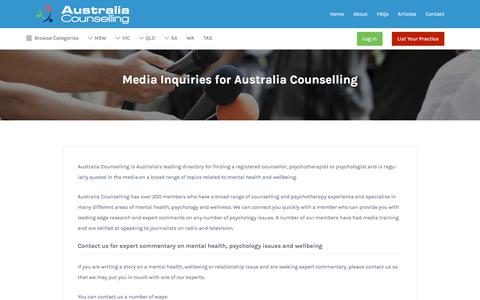 Screenshot of Press Page australiacounselling.com.au - Media: Contact Australia Counselling for Expert Commentary on Mental Health - captured July 31, 2018