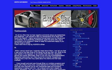 Screenshot of Testimonials Page exoticcarsearch.com - » Testimonials Exotic Car Search - captured Sept. 30, 2014