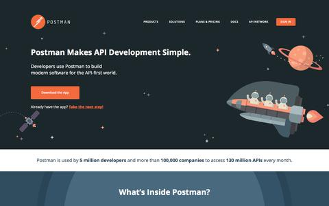 Screenshot of Home Page getpostman.com - Postman | API Development Environment - captured Feb. 23, 2018