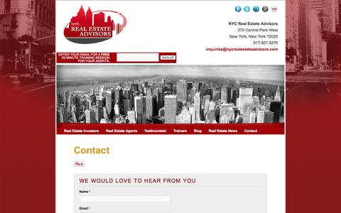 Screenshot of Contact Page nycrealestateadvisors.com - Contact   NYC Real Estate Advisors - captured Oct. 26, 2014