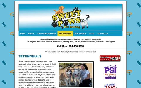 Screenshot of Testimonials Page sweetpawspetsitting.com - TESTIMONIALS - Sweet Paws Pet Sitting - captured Aug. 18, 2016