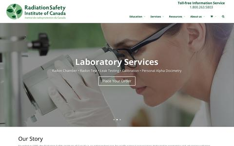 Screenshot of Home Page radiationsafety.ca - Home Page - Radiation Safety Institute of Canada - captured Oct. 18, 2018