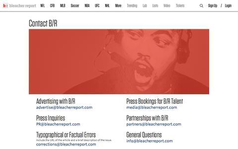 Screenshot of Contact Page bleacherreport.com - Contact B/R - captured Sept. 30, 2015