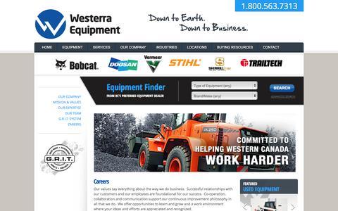 Screenshot of Jobs Page westerraequipment.com - Careers | Westerra Equipment - captured Oct. 7, 2014