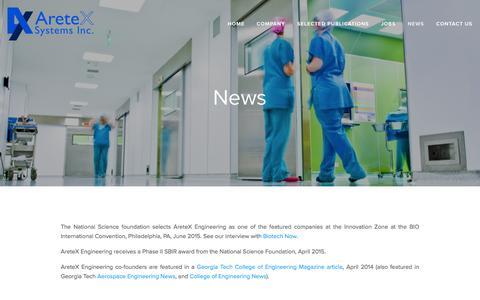 Screenshot of Press Page aretexeng.com - News — AreteX Systems - captured Feb. 6, 2016