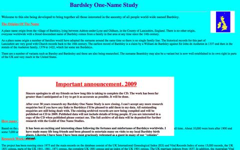 Screenshot of Home Page bardsley.org - Bardsley One-Name Study - captured June 30, 2018