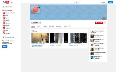 Screenshot of YouTube Page youtube.com - Amal Shah  - YouTube - captured Nov. 4, 2014