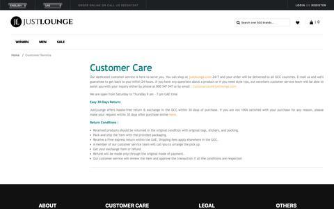 Screenshot of Support Page justlounge.com - Customer Service - captured Nov. 1, 2018