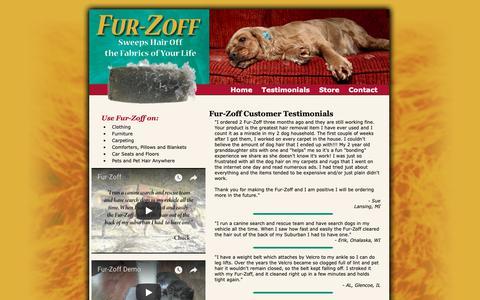 Screenshot of Testimonials Page furzoff.net - Fur-Zoff Reviews - Testimonials - Pet Hair Removal Product - captured Oct. 2, 2018