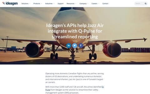 Screenshot of Case Studies Page ideagen.com - Ideagen's APIs help Jazz Air integrate with Q-Pulse for streamlined reporting | Ideagen Plc - captured Nov. 29, 2019