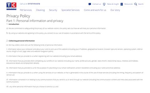 Privacy Policy - TC Facilities Management