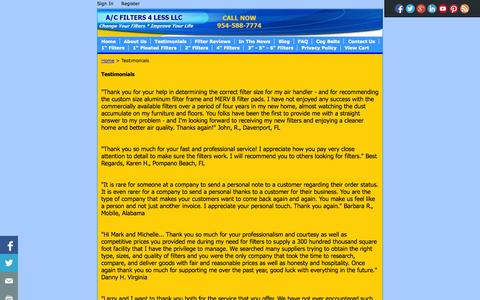 Screenshot of Testimonials Page acfilters4less.com - Testimonials: Best Personal Service I've Ever Received - captured Oct. 29, 2014