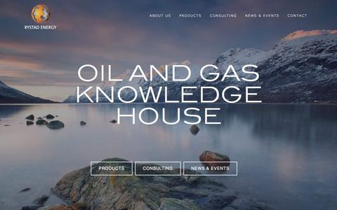 Screenshot of Home Page rystadenergy.com - OIL AND GAS KNOWLEDGE HOUSE - captured Aug. 15, 2016