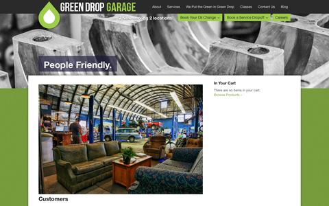 Screenshot of About Page greendropgarage.com - People Friendly. | Green Drop Garage - captured Dec. 14, 2015