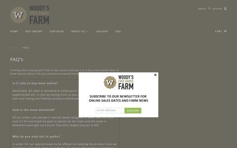 Screenshot of FAQ Page woodysfarm.co.nz - FAQ's | Woody's Free Range Farm - captured Feb. 16, 2016