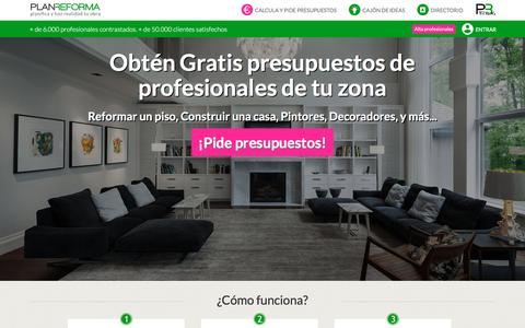 Screenshot of Home Page planreforma.com - Presupuestos de reformas integrales, viviendas, casas, decoraci�n   Empresas de obras y arquitectos - captured Dec. 9, 2015