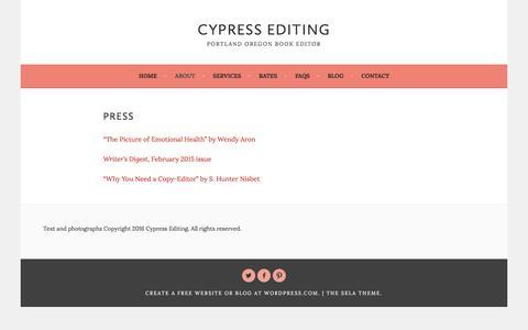 Screenshot of Press Page cypressediting.com - Press – Cypress Editing - captured July 16, 2016
