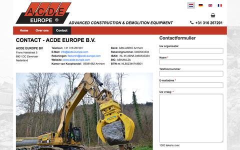 Screenshot of Contact Page acde-europe.com - Contact - ACDE Europe B.V. - captured July 10, 2018