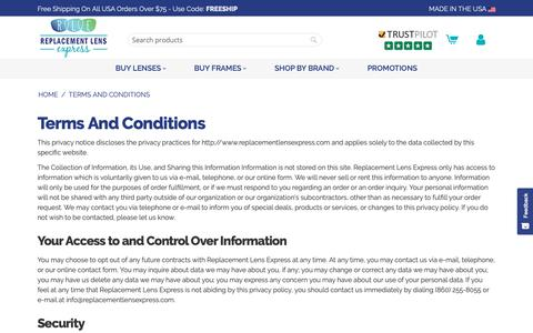 Screenshot of Terms Page replacementlensexpress.com - Terms And Conditions - captured Nov. 4, 2018