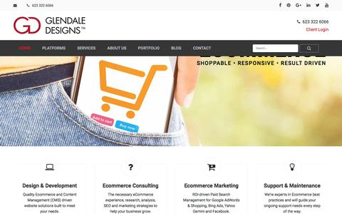 Screenshot of Home Page glendaledesigns.com - Ecommerce Development & Design, Phoenix Arizona - Glendale Designs - captured Feb. 26, 2018