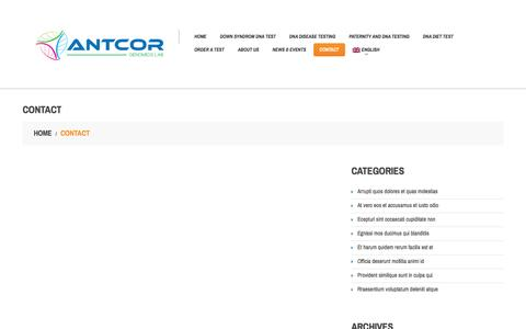 Screenshot of Contact Page antcor.com - Contact | Antcor Genomics Lab - captured Feb. 6, 2016