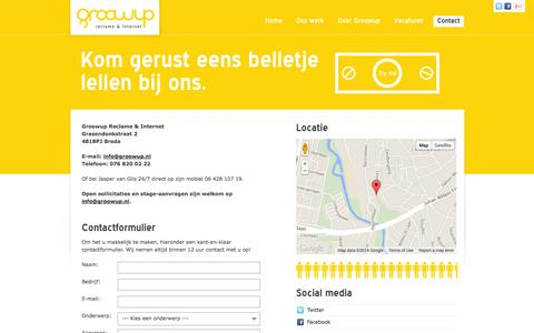 Screenshot of Contact Page groowup.nl - Contact opnemen met Groowup Reclame & Internet Breda - captured Oct. 4, 2014