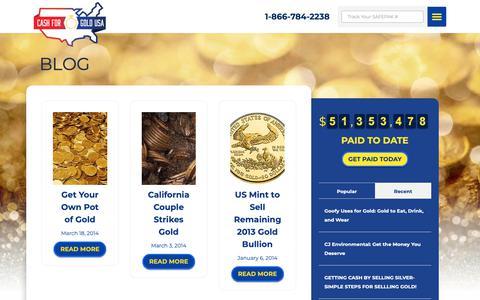 Screenshot of Blog cashforgoldusa.com - Cash for Gold News Blog   Information and Advice about Selling Gold - captured Oct. 25, 2018