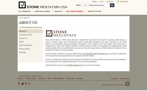 Screenshot of About Page stonemountainhandbags.com - Stone Mountain Handbags Company Store |  About Us - captured April 11, 2017