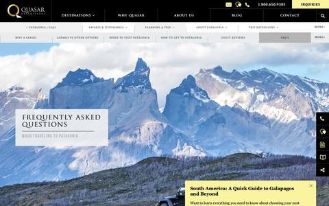 Screenshot of FAQ Page quasarex.com - Patagonia FAQs, Information & Facts with Quasar Expeditions - captured Oct. 22, 2018