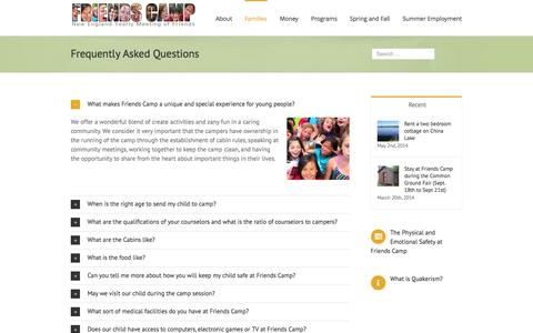 Screenshot of FAQ Page friendscamp.org - Friends Camp   –  Frequently Asked Questions - captured Sept. 30, 2014