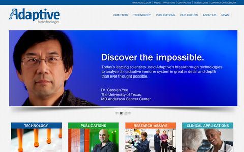 Screenshot of Home Page adaptivebiotech.com - Adaptive Biotechnologies Corporation : Adaptive Biotechnologies - captured Sept. 13, 2014