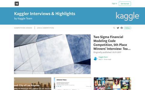 Screenshot of Blog medium.com - Kaggle Blog – Medium - captured Dec. 18, 2019
