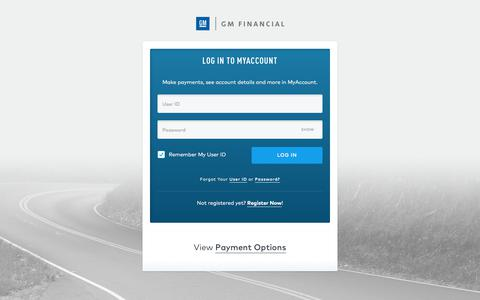 Screenshot of Signup Page Login Page gmfinancial.com - Log In Account | GM Financial - captured July 15, 2018