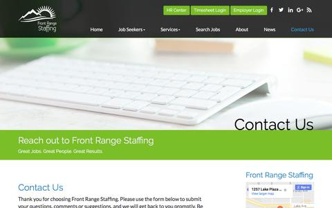 Screenshot of Contact Page frontrangestaffing.com - Contact Us - Front Range Staffing - captured June 6, 2017