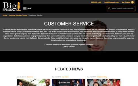 Screenshot of Support Page bigspeak.com - Customer Service Speakers | BigSpeak Motivational Speakers Bureau - captured July 24, 2018