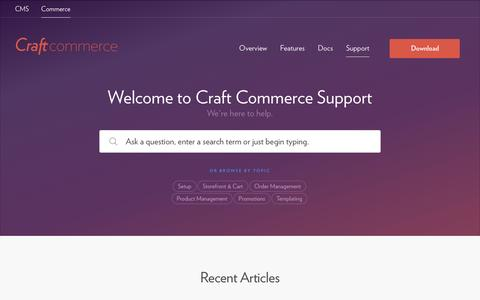 Screenshot of Support Page craftcommerce.com - Support - Craft Commerce - captured July 2, 2016