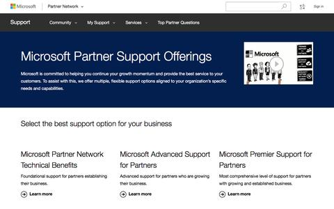 Screenshot of Support Page microsoft.com - Compare Microsoft Partner Support Offerings - captured Nov. 18, 2016
