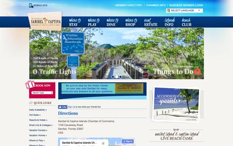 Screenshot of Maps & Directions Page sanibel-captiva.org - Location & Directions - Sanibel Captiva Chamber of Commerce - captured Aug. 27, 2016