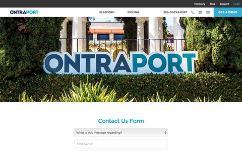 Screenshot of Contact Page ontraport.com - Contact ONTRAPORT | ONTRAPORT Marketing Automation - captured July 3, 2016