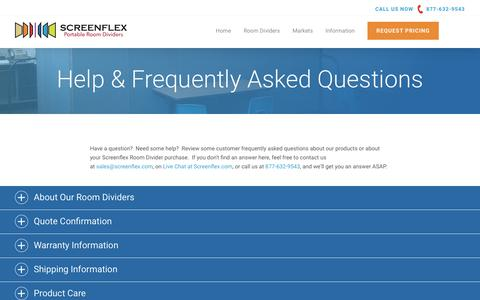 Screenshot of FAQ Page screenflex.com - Frequently Asked Questions & Video - Screenflex Dividers - captured Oct. 18, 2018