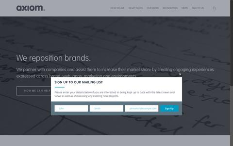Screenshot of Home Page axiomdp.com.au - Axiom Design Partners | Marketing, Website Design & Brand Agency Perth - captured Oct. 9, 2017