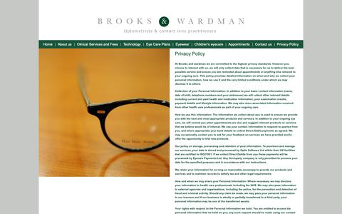 Screenshot of Privacy Page brooksandwardman.co.uk - Privacy Policy - Brooks and Wardman - captured Oct. 6, 2018