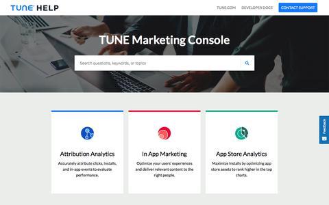 Marketing Console     TUNE Help
