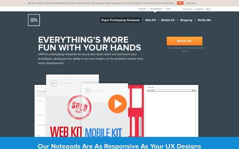 Screenshot of Products Page uxpin.com - UXPin UX Prototyping Notepads Are As Elegant & Robust As Our App! - captured Sept. 17, 2014