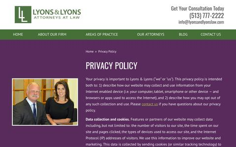 Screenshot of Privacy Page lyonsandlyonslaw.com - Privacy Policy - Lyons & Lyons - captured Sept. 30, 2018