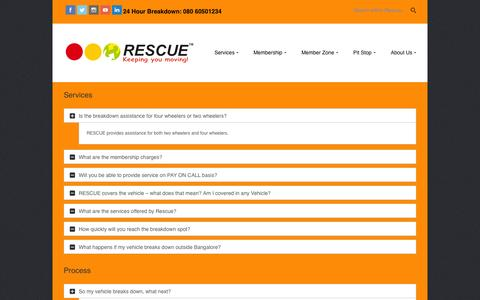 Screenshot of FAQ Page rescuefirst.com - Frequently Asked Questions | Rescue First 24/7 Roadside Assistance - captured Nov. 5, 2014