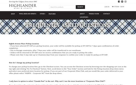 Screenshot of FAQ Page highlanderwine.com - Highlander Wine & Spirits | Frequently Asked Questions - Highlander Wine & Spirits - captured Dec. 15, 2018