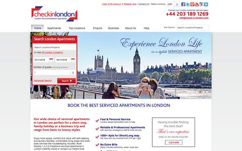 Screenshot of Home Page check-in-london.com - London's Serviced Apartment Specialists - Check-in-London - captured Nov. 5, 2016